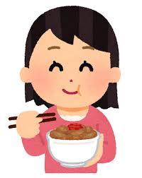牛丼を食べているイラスト